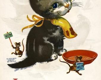 Vintage children's book illustration cat mice milk digital download printable instant image