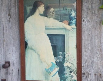 Large Vintage Framed Print on Canvas of The Little White Girl - Symphony in White No.2 by James Abbott McNeill Whistler Artist