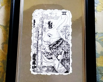 Three of Wands, Pen and Ink, framed illustration, Queen, Alice Tarot deck, Original art,Gothic Lolita, Dame Darcy