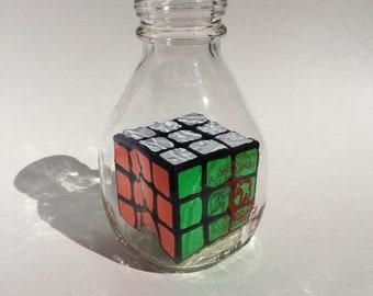 Impossible Bottle - Rubik's Cube in Short Milk Bottle