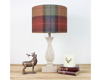 Orange lampshade etsy skye burnt orange tartan tweed check drum lampshade country light shade aloadofball