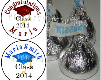 108 Personalized Custom 2018 Graduation Kiss Labels Stickers Party Favors Supplies ANY Year ANY Color