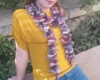 Variegated purple with gold boho ruffle scarf
