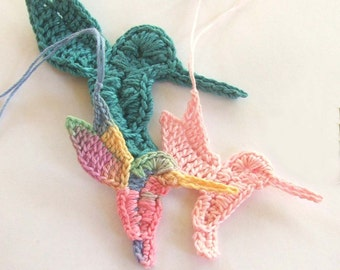 Crochet PATTERN - Instant Download for Hummingbird Ornament - Thread crochet applique pattern