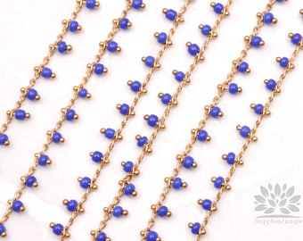 C300-BU// Gold Plated Blue Beads Chain, 50cm