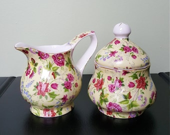 Charlotte Creamer And Sugar Bowl  Set / Made In China / Creamer And Sugar Bowl Set / Vintage Creamer Sugar Bowl Set