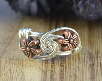 Wire Wrapped Ring-Sterling Silver, Yellow or Rose Gold Filled Wire with Two Copper Tone Flower Beads- Any Size 4 5 6 7 8 9 10 11 12 13 14