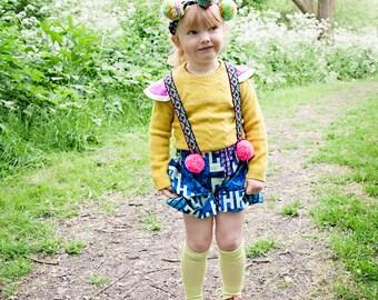 CRAZE 4-5 Years Kids Childrens Shorts Pants Dungarees Braces Suspenders Cotton African Dutchwax Pattern Unisex