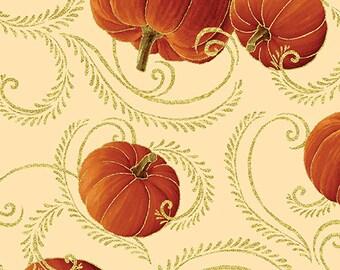 Autumn Splendor Metalic Gold Pumpkin Scroll  Fabric By Kanvas