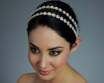 Double Rhinestone Wedding Headband Attached to a Pure Silk Ribbon - Ships in 1 week