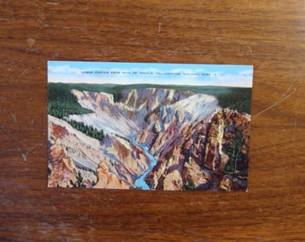 Vintage Postcard, UNUSED, Lower Canyon from Gate of Angels, Yellowstone National Park