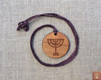 Ancient Menorah Carved Pendant—Recycled Cherry Wood & Grape Purple Organic Linen