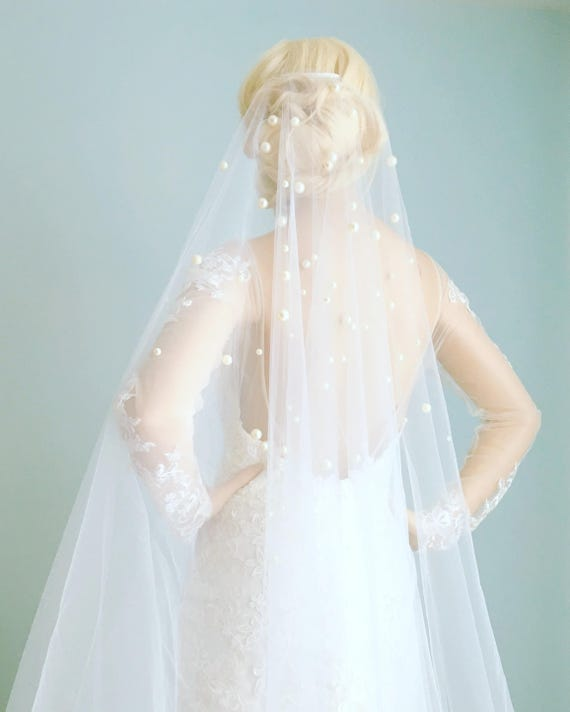 Drop Wedding Veil with Pearls Drop Veil with Pearls Mantilla