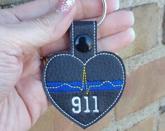 911 Dispatch Keychain - Public Safety Dispatcher - Public Safety Telecommunicator - Thin Gold Line - Thin Blue Line - Thin Red Line