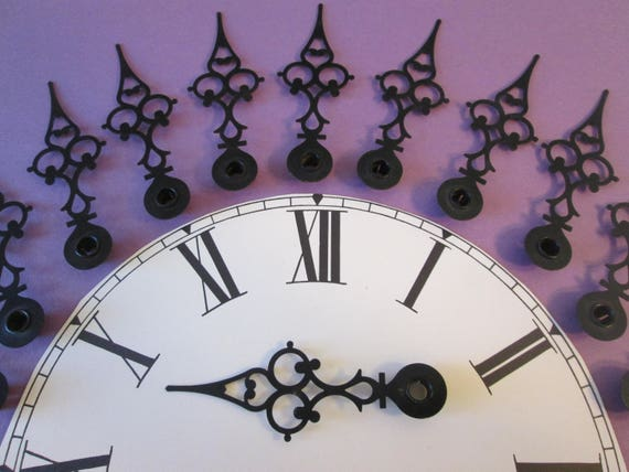 "12 Large 3 3/4"" Vintage Painted Solid Brass Serpentine Design Clock Hour Hands for your Clock Projects, Steampunk Art, Jewelry Making"