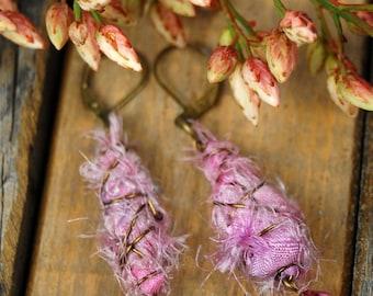 Pink  boho chic  sari silk dangle earrings
