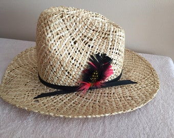 Bailey U Rollit Youth Straw Cowboy Hat Feathered Size 6 1/2