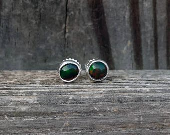 Black Opal Stud Earrings - Black Opals - Black Opal Posts - Sterling Silver - Black Opal Earrings - Opals- Opal Jewelry - October Birthstone
