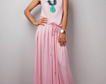 Pink dress, maxi dress, sleeveless dress, dress with pockets, summer dress, plus size dress : Autumn Thrills Collection No.9