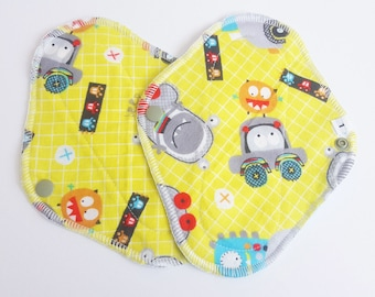 Set of 2 Cloth Mama Pad Pantyliners 8 inch - Monsters Printed Flannel