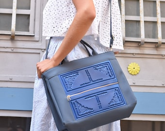 Laptop bag, briefcase purse, crossbody briefcase bag, blue briefcase, non leather briefcase, every day laptop bag, water resistant bag