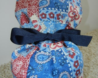 Turn Up Ponytail Surgical Scrub Hat in Calico Red Blue Paisley