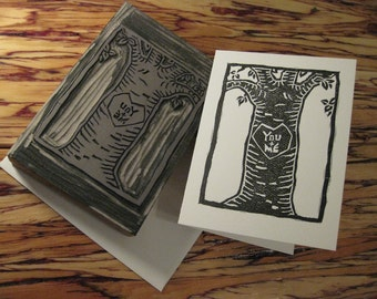 Linocut & Letterpress Valentine, Anniversary or Just Because - You (plus) Me...Love