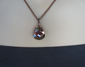 Plum Necklace, Crystal Necklace, Swarovski Crystal, Antiqued Copper, Irisjewelrydesign, Fashion
