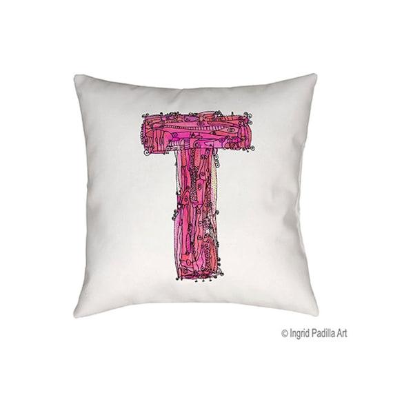 Whimsical, Letter, T, Pillow, pink, monogrammed pillow, Illustration, funky, typography, Alphabet, Art, Decor, fabric, Ingrid Padilla