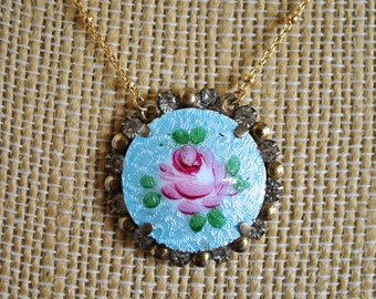 VINTAGE GUILLOCHE ROSE necklace
