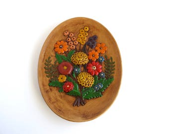 Floral Ceramic Wall Hanging, 70's Pottery