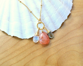 Sunstone, Moonstone & Aquamarine Necklace, Wire Wrapped Gemstones, Gold Satellite Chain, Gold Necklace, Gemstone Trio Necklace