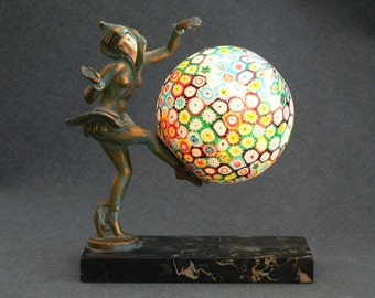 Antique Millefiore Art Deco lamp from 1930's with Pixie Dancer
