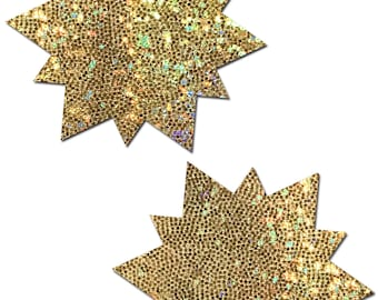 Pasties - Sunny: Glitter Gold Sun Nipple Pasties by Pastease® o/s