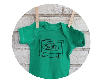 Baby Bodysuit, Mix Tape Short Sleeved Cotton Infant Onepiece Screen-printed by Hand With a Cassette Tape