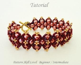 ROSES beaded bracelet beading tutorial beadweaving pattern seed bead beadwwork jewelry beadweaving tutorials beading pattern instructions
