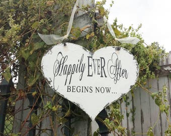 HAPPILY EVER AFTER Sign | Wedding Signs | Ring Bearer Signs | Wooden Heart Signs for Weddings | Wedding Signage | Flower Girl Signs | Rustic