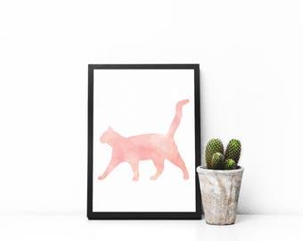 Cat Art Printable - Best Selling - Printable Art - Cat Lover - Cat Decor - Pink Cat - Rustic Print - Nursery Art - Wall Decor - Cat Art