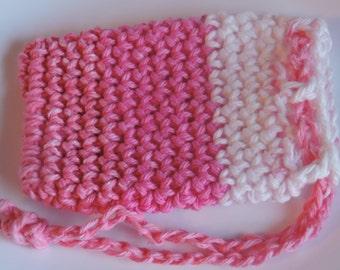 Soap Saver, Crochet Soap Saver Bag, Soap Sack, Soap Saver Gift Bag, Soap Saver Wedding Favor, Pink and White Soap Saver Bag, Wash Cloth