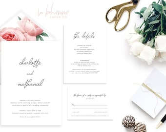 Printable Wedding Invitation Suite / Calligraphy / Wedding Invite Set - Minimal Charlotte Suite