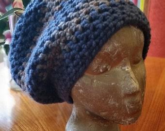 Hippie Crochet Blue Hipster Slouch Hat Cap Beanie Dreadlock Tam