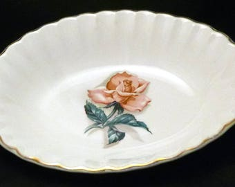 Vintage TS&T Taylor, Smith and Taylor Co. Versatile Oval Serving Bowl with Rose Motif, 1950s