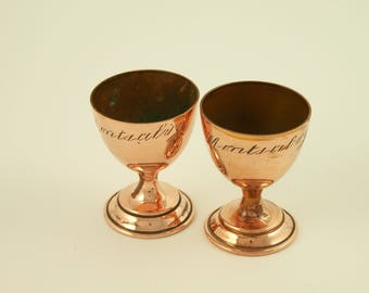 "Set of  2 copper egg cups engraved ""Montsalvy"" vintage  Made in France"