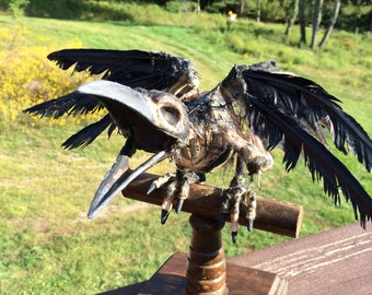 Raven Skeleton Prop On A Rustic Wooden Perch