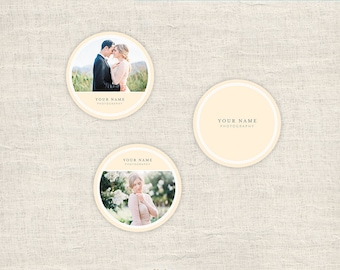 Round Sticker Templates for Photographers - Wedding Photography Templates - 3x3 Label Photoshop Designs Templates - INSTANT DOWNLOAD