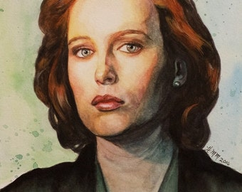 Dana Scully - Gillian Anderson - X-Files - Watercolor Art Print Portrait