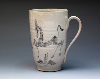 Edwin and Mary Scheier Mug with Zebras, Hand Thrown and Painted Earthenware Mug, Historical Pottery, Collectible Pottery, Studio Pottery Mug