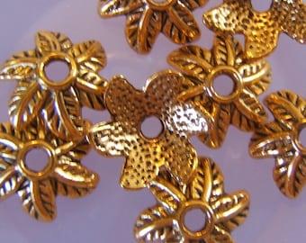 20 -  Leafy Antiqued Gold Finish Bead Caps