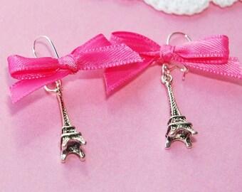 J'Adore Paris - Pink Ribbon ( silver Eiffel Tower earrings )