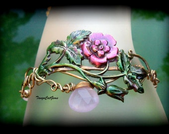 Rose  Bracelet  hand painted with chalcedony and rose quartz Pink Wild Rose